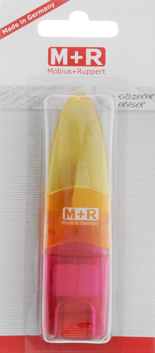 M+R Точилка Ellipstick Swing с ластиком цвет желтый оранжевый розовый72523WDУдобная точилка в пластиковом корпусе с крышкой M+R Ellipstick Swing предназначена для затачивания карандашей.Острое лезвие точилки обеспечивает высококачественную и точную заточку карандашей. Карандаш затачивается легко и аккуратно, а опилки после заточки остаются в специальном контейнере.Точилка снабжена ластиком, закрывающимся колпачком.