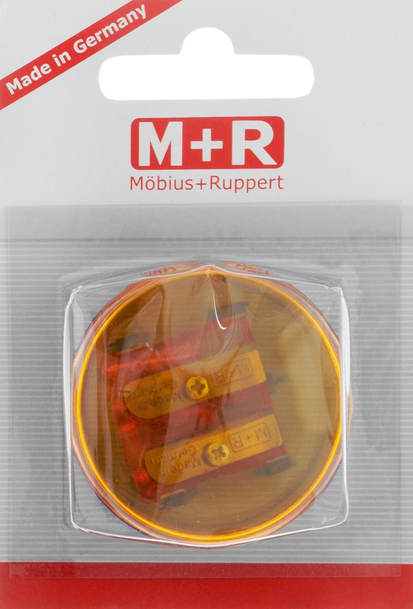 M+R Точилка Top Duo цвет оранжевый синий72523WDТочилка M+R Top Duo выполнена из прочного пластика.В точилке имеются два отверстия для карандашей различного диаметра. Точилка подходит для цветных и чернографитных карандашей. При повороте пластикового контейнера, отверстия закрываются.Прозрачный контейнер для сбора стружки позволяет визуально контролировать уровень заполнения и вовремя производить очистку.