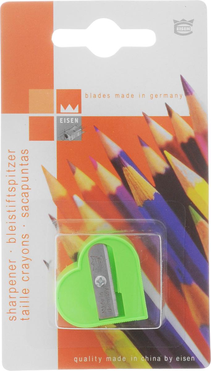 Eisen Точилка Сердце цвет салатовый171220Точилка Eisen Сердце предназначена для затачивания классических простых и цветных карандашей.Точилка изготовлена из качественного материала и имеет рельефную область захвата. Острые лезвия обеспечивают высококачественную и точную заточку карандашей.