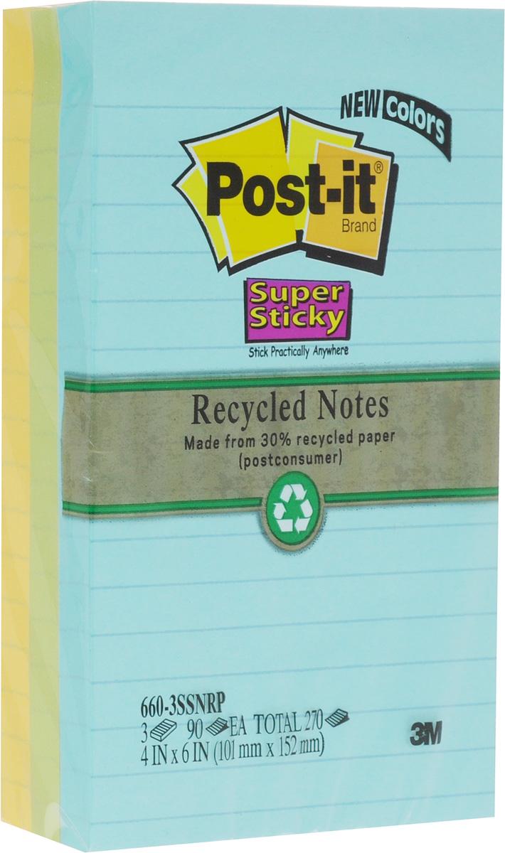 Post-it Набор бумаги для заметок с липким слоем 3 блока цвет желтый зеленый голубой72523WDНабор бумаги для заметок Post-it - эффективный офисный инструмент, позволяющий рационально организовать работу, используя разнообразные цвета для обозначения дел разной важности.Клеевой слой не высыхает и выдерживает многократное приклеивание к большинству поверхностей. Не нужно беспокоиться, что бумага быстро закончится - в наборе 3 блока по 90 листов. Листы выполнены из бумаги в линейку трех цветов - голубого, зеленого, желтого.