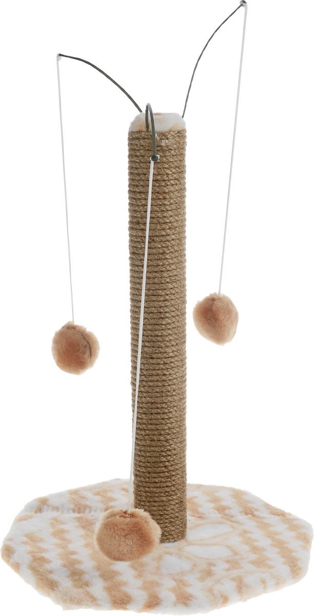 Когтеточка Меридиан, на подставке, с тремя игрушками, цвет: бежевый, белый, высота 52 см101-2_голубойКогтеточка Меридиан поможет сохранить мебель и ковры в доме от когтей вашего любимца, стремящегося удовлетворить свою естественную потребность точить когти. Когтеточка изготовлена из дерева, искусственного меха и джута. Товар продуман в мельчайших деталях и, несомненно, понравится вашей кошке. Сверху имеется 3 подвесных игрушки, которые привлекут питомца.Всем кошкам необходимо стачивать когти. Когтеточка - один из самых необходимых аксессуаров для кошки. Для приучения к когтеточке можно натереть ее сухой валерьянкой или кошачьей мятой. Когтеточка поможет вашему любимцу стачивать когти и при этом не портить вашу мебель.пРазмер основания: 36 х 36 см.Высота когтеточки: 52 см.