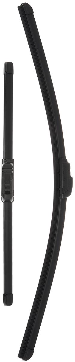 Щетка стеклоочистителя Bosch AR601S, бескаркасная, со спойлером, длина 40/60 см, 2 штIRK-503Комплект Bosch AR601S состоит из двух бескаркасных щеток разного размера. Щетки выполнены по современной технологии из высококачественных материалов и предназначены для установки на переднее стекло автомобиля. Отличаются высоким качеством исполнения и оптимально подходят для замены оригинальных щеток, установленных на конвейере. Обеспечивают качественную очистку стекла в любую погоду.AEROTWIN - серия бескаркасных щеток компании Bosch. Щетки имеют встроенный аэродинамический спойлер, что делает их эффективными на высоких скоростях, и изготавливаются из многокомпонентной резины с применением натурального каучука. Комплектация: 2 шт.