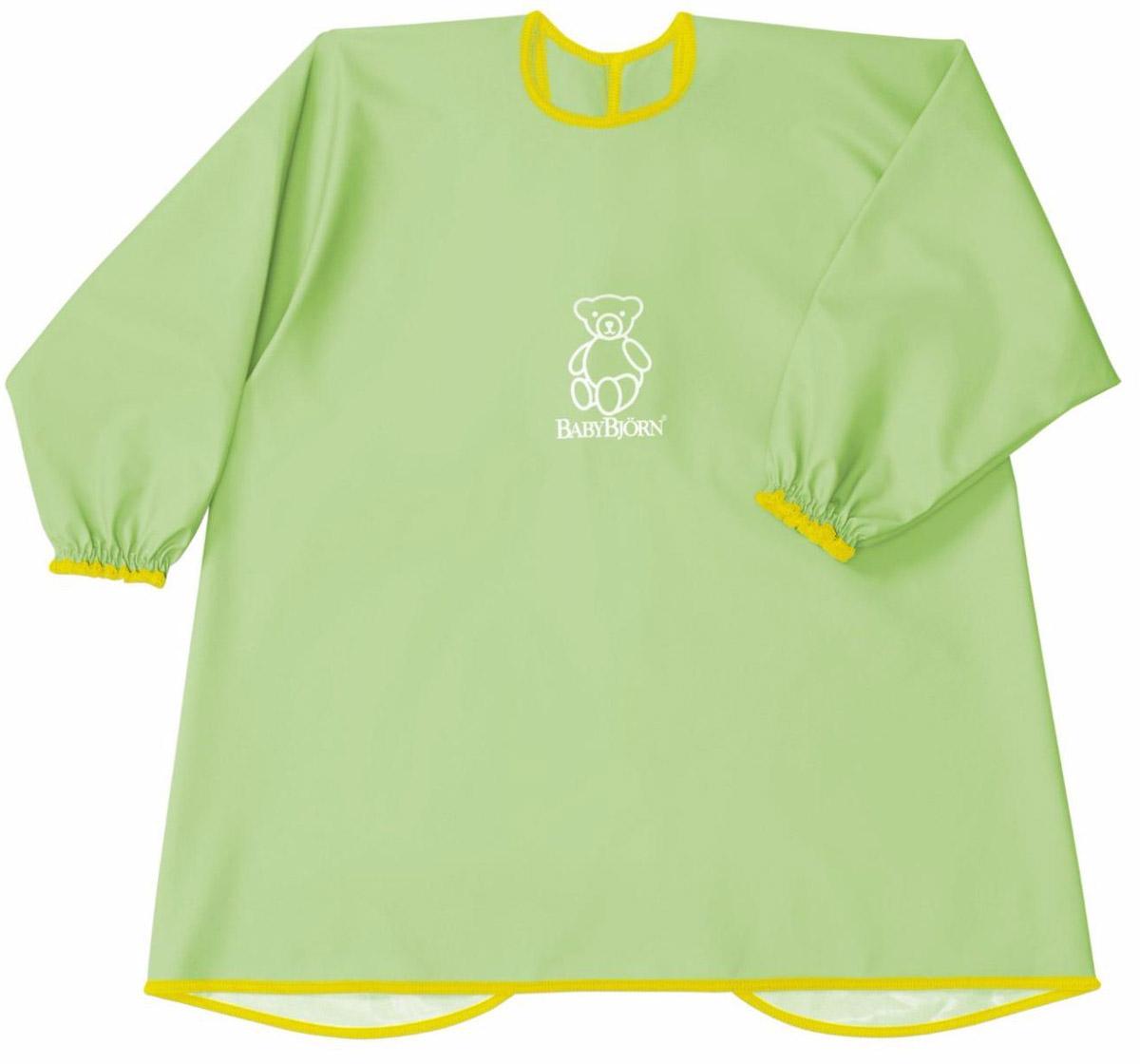 """Мягкая и практичная рубашка """"BabyBjorn"""" надежно защитит одежду вашего ребенка во время кормления или занятия творчеством. С удобными застежками-кнопками на спине и мягкими, эластичными манжетами, рубашка защищает одежду малыша сзади и спереди от воды, еды, красок и всего того, что можно пролить или от того, чем можно испачкаться. Допускается машинная стирка."""