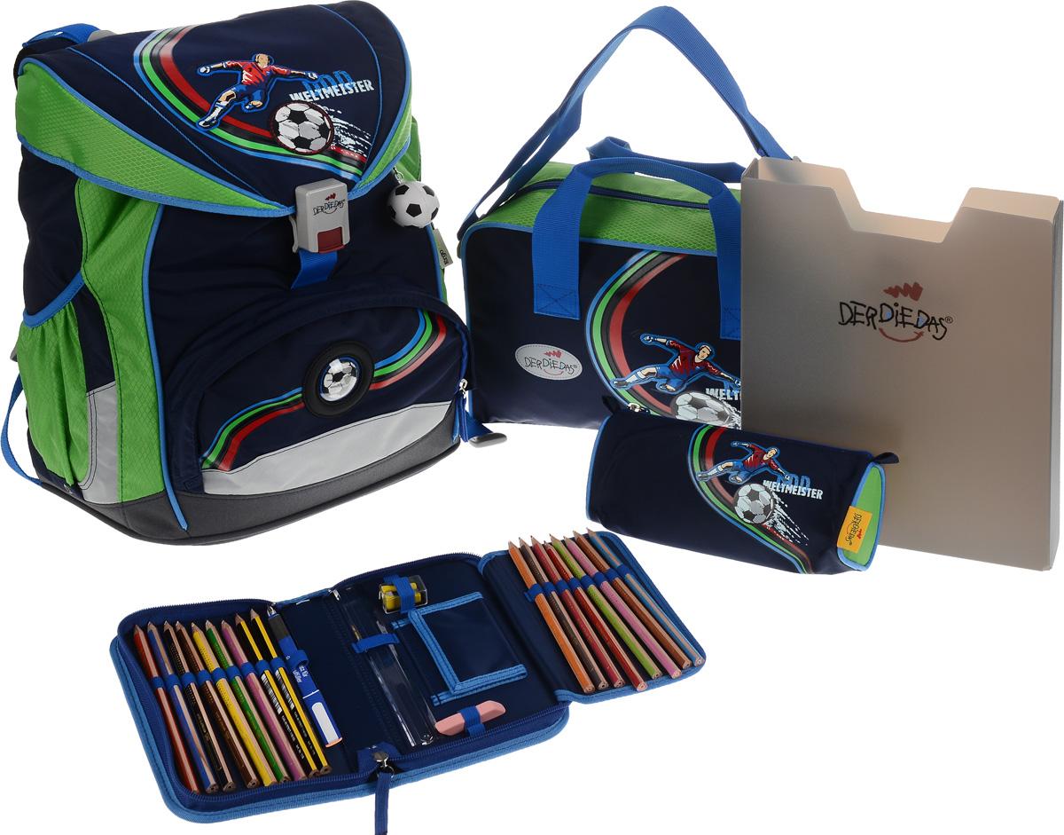 DerDieDas Ранец школьный Футболист с наполнением цвет синий зеленый 5 предметов000405-03Школьные ранцы DerDieDas - немецкий стандарт качества товаров для учеников. Ранец состоит из одного вместительного отделения, которое закрывается на шнурок и клапан с удобным пластиковым замком. Внутри ранец имеет сквозную перегородку для тетрадей, или учебников и бейджик в пластиковом кармане на отдельном шнурке. Снаружи рюкзак декорирован объемными нашивками в виде футболиста и мячей. Лицевая часть дополнена накладным карманом на застежке-молнии. По бокам расположены два открытых кармана на резинке, имеются светоотражающие вставки. Рюкзак дополнен брелоком в виде футбольного мяча. Ранец имеет ортопедическую спинку со специальными мягкими подушечками и специальные прорези, которые позволяют изменять расположение лямок на спинке ранца (поднимать или опускать их) в зависимости от роста ребенка. Ранец укомплектован ремнями: нагрудным и поясным. Впитывающий влагу и пропускающий воздух материал на спинке и внутренней стороне лямок позволяет спине дышать. Полиэстер повышенной прочности не подвержен истиранию и не рвется, ранец отлично моется как снаружи, так и внутри, а яркие не выцветающие краски гипоаллергенны. Изделие имеет водонепроницаемую внутреннюю поверхность и пластиковое покрытие, которое защищает дно ранца от влаги и загрязнений. Ранец поставляется в комплекте со спортивной сумкой, пеналом с наполнением, пеналом без наполнения и папкой-боксом, выполненными в одном дизайне. Папка-бокс, изготовленная из пластика, удобна и долговечна. Размер папки: 31х 24,5х5. Спортивная сумка, закрывается на молнию, имеет одно отделение с карманом на липучке. Дополнена удобными ручками и регулируемым наплечным ремнем. Размер сумки: 34х22х11см. Пенал с наполнением, на молнии, с дополнительным клапаном для карандашей и кармашком для денег на липучке. Содержание пенала: 17 цветных карандашей, ластик. Линейка, точилка. Размер пенала: 20х11,5х3 см. Пенал без наполнения, с одним отделением на молни