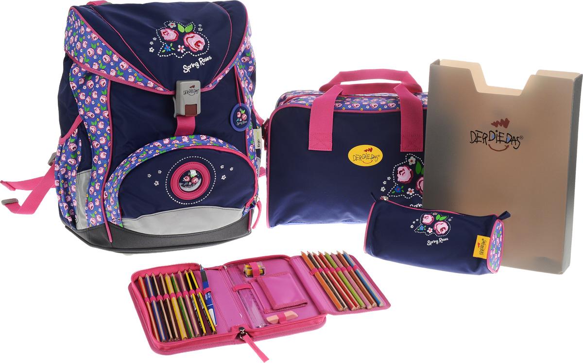 DerDieDas Ранец школьный Розы с наполнением цвет синий розовый 5 предметов000405-59Школьные ранцы DerDieDas - немецкий стандарт качества товаров для учеников. Ранец состоит из одного вместительного отделения, которое закрывается на шнурок и клапан с удобным пластиковым замком. Внутри ранец имеет сквозную перегородку для тетрадей, или учебников и бейджик в пластиковом кармане на отдельном шнурке. Снаружи рюкзак декорирован объемными элементами и вышивкой с розами. Лицевая часть дополнена накладным карманом на застежке-молнии. По бокам расположены два открытых кармана на резинке, имеются светоотражающие вставки. Рюкзак дополнен брелоком в виде с изображением роз. Ранец имеет ортопедическую спинку со специальными мягкими подушечками и специальные прорези, которые позволяют изменять расположение лямок на спинке ранца (поднимать или опускать их) в зависимости от роста ребенка. Ранец укомплектован ремнями: нагрудным и поясным. Впитывающий влагу и пропускающий воздух материал на спинке и внутренней стороне лямок позволяет спине дышать. Полиэстер повышенной прочности не подвержен истиранию и не рвется, ранец отлично моется как снаружи, так и внутри, а яркие не выцветающие краски гипоаллергенны. Изделие имеет водонепроницаемую внутреннюю поверхность и пластиковое покрытие, которое защищает дно ранца от влаги и загрязнений. Ранец поставляется в комплекте со спортивной сумкой, пеналом с наполнением, пеналом без наполнения и папкой-боксом, выполненными в одном дизайне. Папка-бокс, изготовленная из пластика, удобна и долговечна. Размер папки: 31х 24,5х5. Спортивная сумка, закрывается на молнию, имеет одно отделение с карманом на липучке. Дополнена удобными ручками и регулируемым наплечным ремнем. Размер сумки: 34х22х11см. Пенал с наполнением, на молнии, с дополнительным клапаном для карандашей и кармашком для денег на липучке. Содержание пенала: 17 цветных карандашей, ластик. Линейка, точилка. Размер пенала: 20х11,5х3 см. Пенал без наполнения, с одним отделением на молнии. Разме