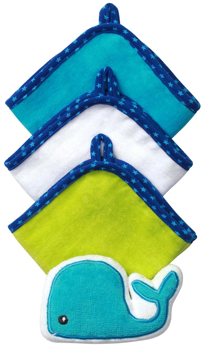 BabyOno Набор для купания Кит200270Набор для купания BabyOno Кит включает в себя 3 моющие рукавиц велюр и губку в виде зверюшки. Такой набор будет незаменим уже с первого купания. Идеален для купания ребёнка, а также для ежедневного ухода, в том числе для мытья рук и лица в течение дня. Набор изготовлен из высококачественного пушистого 100% хлопка, благодаря чему не раздражает нежную кожу ребёнка.