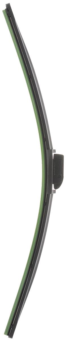 Щетка стеклоочистителя Wonderful, бескаркасная, с тефлоном, с 10 адаптерами, длина 55 см, 1 штS03301004Бескаркасная универсальная щетка Wonderful, выполненная по современной технологии из высококачественных материалов, предназначена для установки на переднее стекло автомобиля. Направляющая шина, расположенная внутри чистящего полотна, равномерно распределяет прижимное усилие по всей длине, точно повторяя рельеф щетки, что обеспечивает наиболее полное очищение стекла за один проход. Отличается высоким качеством исполнения и оптимально подходит для замены оригинальных щеток, установленных на конвейере. Обеспечивает качественную очистку стекла в любую погоду. Изделие оснащено 10 адаптерами, которые превосходно подходят для наиболее распространенных типов креплений. Простой и быстрый монтаж.
