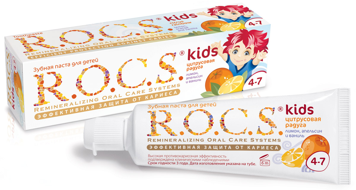 R.O.C.S. Зубная паста Лимон апельсин и ваниль от 4 до 7 лет 45 гMP59.4DЭффективная зубная паста R.O.C.S. со вкусом апельсина, лимона и ванили для детей от 4 до 7 лет разработана при участии стоматологов с учётом возрастных особенностей ребёнка. Содержит комплекс AMIFLUOR, содержащий аминофторид Olafluor 500 ppm и высокую концентрацию ксилита, благодаря чему обеспечивается устойчивость зубов к растворяющему действию кислот, надёжная защита дёсен от воспаления, защита зубов от кариесогенных бактерий и нормализация микробного состава полости рта.Товар сертифицирован.