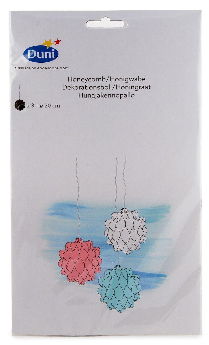 Шары для украшения интерьера Duni Mixem up. Пчелиные соты, бумажные, диаметр 20 см, 3 штN181227Шары Duni Mixem up. Пчелиные соты выполнены из бумаги. Изделия оснащены лентами для подвешивания. Шары можно сочетать с другими украшения как воздушными шарами, ленточками цветами. Оригинальный дизайн шаров сделает любой праздник незабываемым и волшебным. Диаметр шара: 20 см. Количество шаров: 3 шт.