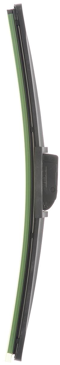 Щетка стеклоочистителя Wonderful, бескаркасная, с тефлоном, с 10 адаптерами, длина 35 см, 1 штS03301004Бескаркасная универсальная щетка Wonderful, выполненная по современной технологии из высококачественных материалов, предназначена для установки на переднее стекло автомобиля. Направляющая шина, расположенная внутри чистящего полотна, равномерно распределяет прижимное усилие по всей длине, точно повторяя рельеф щетки, что обеспечивает наиболее полное очищение стекла за один проход. Отличается высоким качеством исполнения и оптимально подходит для замены оригинальных щеток, установленных на конвейере. Обеспечивает качественную очистку стекла в любую погоду. Изделие оснащено 10 адаптерами, которые превосходно подходят для наиболее распространенных типов креплений. Простой и быстрый монтаж.