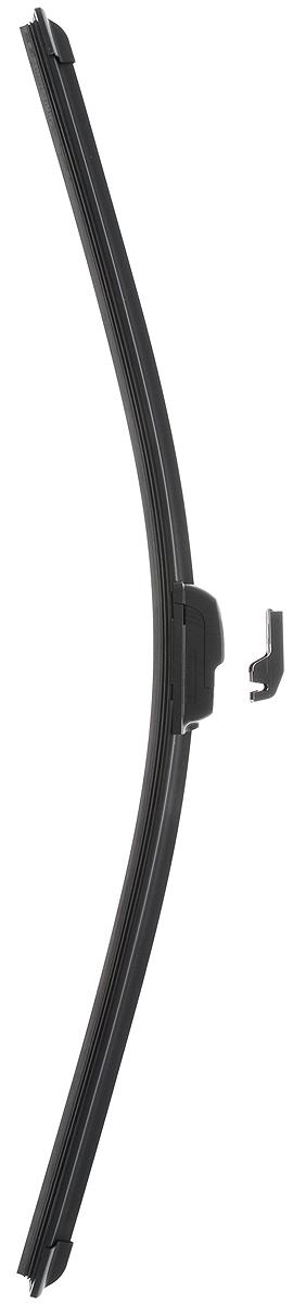 Щетка стеклоочистителя Wonderful, бескаркасная, с тефлоном, с 2 адаптерами, длина 60 см, 1 штIRK-503Бескаркасная универсальная щетка Wonderful, выполненная по современной технологии из высококачественных материалов, предназначена для установки на переднее стекло автомобиля. Направляющая шина, расположенная внутри чистящего полотна, равномерно распределяет прижимное усилие по всей длине, точно повторяя рельеф щетки, что обеспечивает наиболее полное очищение стекла за один проход. Отличается высоким качеством исполнения и оптимально подходит для замены оригинальных щеток, установленных на конвейере. Обеспечивает качественную очистку стекла в любую погоду. Изделие оснащено 2 адаптерами, которые превосходно подходят для наиболее распространенных типов креплений. Простой и быстрый монтаж.