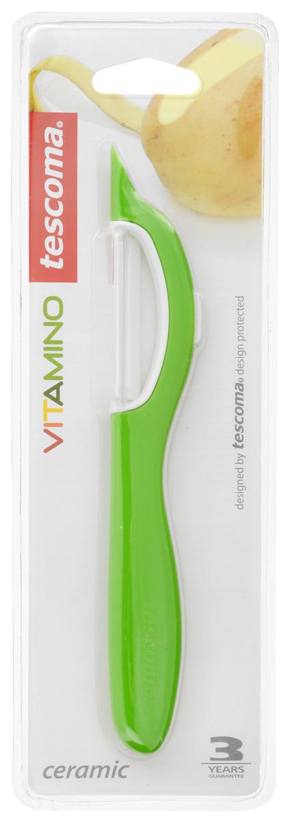 Овощечистка Tescoma Vitamino, с продольным керамическим лезвием, цвет: зеленый, длина 19 см391602Овощечистка с продольным лезвием Tescoma Vitamino изготовлена из прочного пластика, лезвие - из высококачественной керамики. Отлично подходит для быстрой и легкой очистки моркови и других овощей. Также можно использовать для нарезки тонкими ломтиками моркови, сельдерея, редиса.Можно мыть в посудомоечной машине.