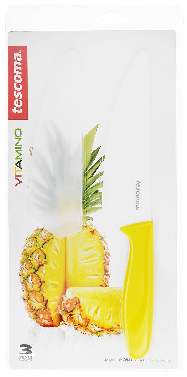Нож керамический Tescoma Vitamino, с чехлом, цвет: желтый, длина лезвия 15 см885615Нож Tescoma Vitamino с керамическим лезвием отлично подходит для повседневного использования. Керамическое лезвие бережно относится к нарезаемым продуктам, овощи и фрукты не вянут, не темнеют, продукты не изменяют вкус и запах и дольше сохраняют свежесть. Закругленный кончик устойчив к повреждениям. Пластиковая ручка имеет нескользящую поверхностью. В комплект входит защитный чехол для безопасного хранения.Можно мыть в посудомоечной машине.Общая длина ножа: 26,5 см.Длина лезвия: 15 см.