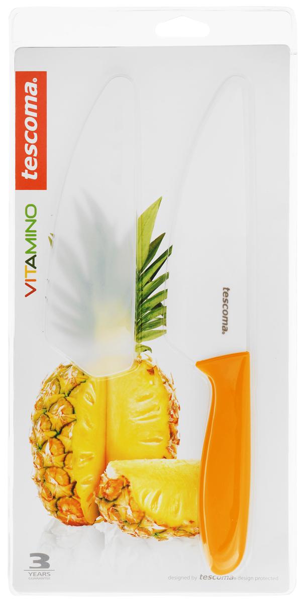 Нож керамический Tescoma Vitamino, с чехлом, цвет: оранжевый, длина лезвия 15 смDO-1108Нож Tescoma Vitamino с керамическим лезвием отлично подходит для повседневного использования. Керамическое лезвие бережно относится к нарезаемым продуктам, овощи и фрукты не вянут, не темнеют, продукты не изменяют вкус и запах и дольше сохраняют свежесть. Закругленный кончик устойчив к повреждениям. Пластиковая ручка имеет нескользящую поверхностью. В комплект входит защитный чехол для безопасного хранения.Можно мыть в посудомоечной машине.Общая длина ножа: 26,5 см.Длина лезвия: 15 см.