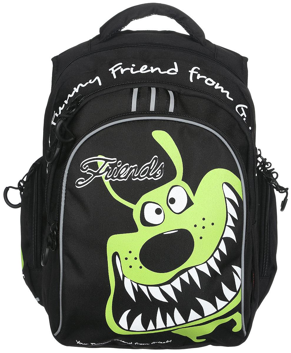 Grizzly Рюкзак детский цвет черный салатовый72523WDДетский рюкзак Grizzly - это красивый и удобный рюкзак, который подойдет всем, кто хочет разнообразить свои школьные будни. Рюкзак выполнен из плотного материала и оформлен оригинальным изображением.Рюкзак имеет два основных отделения на застежках-молниях с двумя бегунками. Большое отделение содержит накладной карман на молнии. Второе отделение имеет внутри открытый накладной кармашек и четыре отделения для канцелярских принадлежностей.На лицевой стороне рюкзака расположен накладной карман на молнии. Бегунки дополнены удобными держателями с логотипом Grizzly. По бокам рюкзак дополнен накладными карманами на застежках-молниях. Рюкзак также оснащен удобной ручкой для переноски и светоотражающими элементами.Широкие регулируемые лямки и сетчатые мягкие вставки на спинке рюкзака предохранят мышцы спины ребенка от перенапряжения при длительном ношении. Многофункциональный школьный рюкзак станет незаменимым спутником вашего ребенка в походах за знаниями.