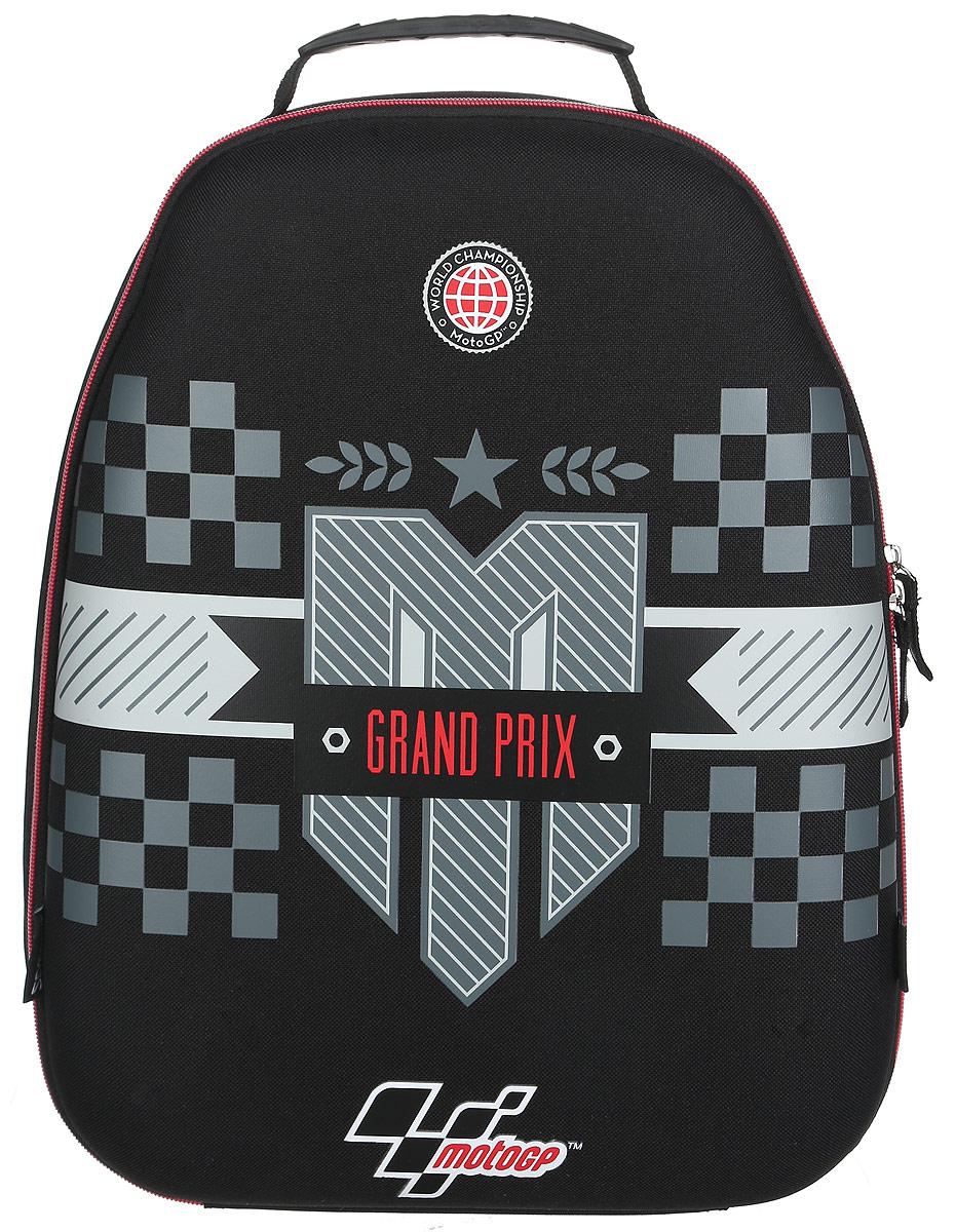 MotoGP Рюкзак детский Grand Prix цвет черный серый72523WDДетский рюкзак MotoGP Grand Prix - это красивый и удобный рюкзак, который подойдет всем, кто хочет разнообразить свои школьные будни. Рюкзак выполнен из плотного и безопасного материала.Рюкзак имеет одно основное вместительное отделение на застежке-молнии. Внутри отделения расположены два мягких разделителя для тетрадей или учебников. На одном разделителе находится открытый кармашек под мобильный телефон. Также в отделении находятся два сетчатых кармана - открытый и пришивной на молнии. Рюкзак оснащен удобной и прочной ручкой для переноски.Широкие лямки можно регулировать по длине. Рюкзак снабжен светоотражающими вставками.Многофункциональный детский рюкзак станет незаменимым спутником вашего ребенка.