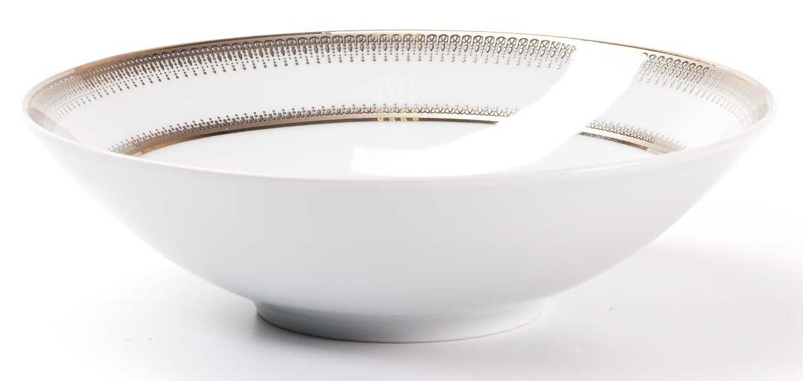 Салатник La Rose Des Sables Princier Platine, 19 см54 009312Элегантная посуда класса люкс теперь на вашем столе каждый день. Сделанные из высококачественного материала с использованием новейших технологий, предметы сервировки невероятно прочны и прекрасно подходят для повседневного использования. Классическая форма и чистота линий делает их желанными гостями на любом обеде. Уникальная плотность и тонкость фарфора достигается за счет изготовления его из уникальной глины региона Лимож (Франция). Посуда устойчива к сколам и трещинам благодаря двойному термическому обжигу. Золотой, серебряный декор посуды отличается высоким содержанием настоящего золота и серебра.