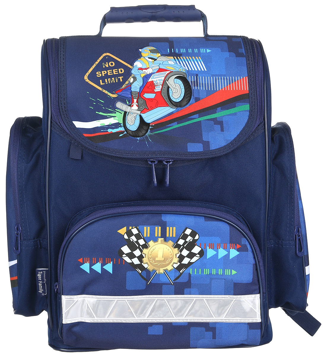 Tiger Enterprise Ранец школьный Motorbike730396Школьный ранец Tiger Enterprise Motorbike идеально подойдет для школьников.Ранец выполнен из прочного и водонепроницаемого материала. Изделие оформлено изображением в виде мотоциклиста.Содержит одно вместительное отделение, закрывающееся клапаном на застежку-молнию с двумя бегунками. Внутри отделения имеется мягкая перегородка для тетрадей или учебников. Клапан полностью откидывается, что существенно облегчает пользование ранцем. На внутренней части клапана находится прозрачный пластиковый кармашек, в который можно поместить данные о владельце ранца. Изделие имеет два боковых накладных кармана на молнии, которые отлично подойдут для бутылки с водой. Лицевая сторона ранца оснащена накладным карманом на застежке-молнии.Спинка ранца достаточно твердая. В нижней части спины расположен поясничный упор - небольшой валик, на который при правильном ношении ранца будет приходиться основная нагрузка.Ранец оснащен ручкой с пластиковой насадкой для удобной переноски в руке и петлей для подвешивания. Мягкие анатомические лямки позволяют легко и быстро отрегулировать ранец в соответствии с ростом ребенка. Дно ранца из износостойкого водонепроницаемого материала легко очищается от загрязнений.Светоотражающие элементы обеспечивают дополнительную безопасность в темное время суток.Многофункциональный школьный ранец станет незаменимым спутником вашего ребенка в походах за знаниями.
