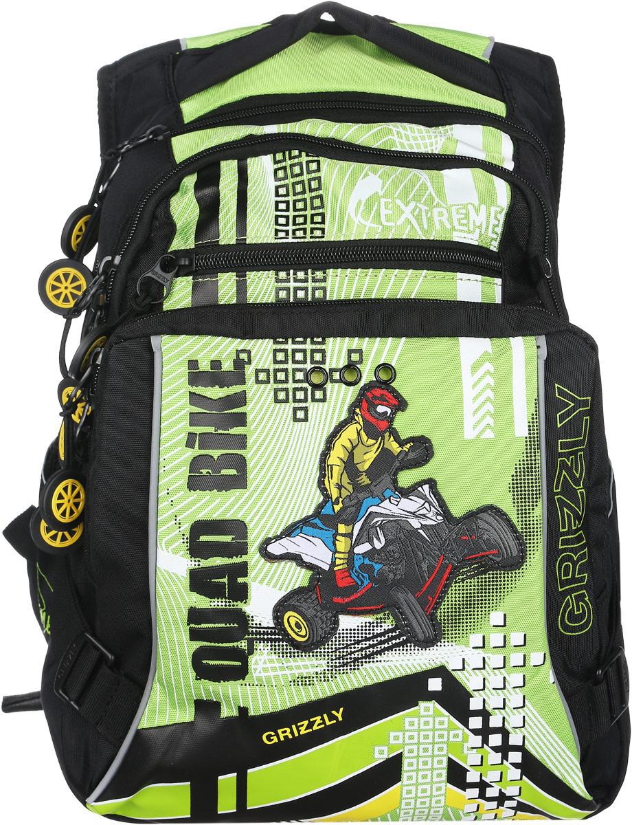 Grizzly Рюкзак детский Quad Bike цвет черный салатовый72523WDДетский рюкзак Grizzly Quad Bike - это стильный рюкзак, который подойдет всем, кто хочет разнообразить свои школьные будни.Благодаря уплотненной спинке и двум мягким плечевым ремням, длина которых регулируется, у ребенка не возникнут проблемы с позвоночником. Конструкция спинки дополнена эргономичными подушечками. Рюкзак выполнен из плотного полиэстера черного и салатового цветов, оформлен оригинальной аппликацией.Рюкзак состоит из двух основных вместительных отделений, закрывающихся на застежки-молнии. Большое отделение оборудовано небольшим карманом на молнии. Дно рюкзака можно сделать жестким, разложив специальную панель с пластиковой вставкой, что повышает сохранность содержимого рюкзака и способствует правильному распределению нагрузки. Во втором отделении располагается органайзер для канцелярских принадлежностей. На внешней стороне рюкзак оснащен двумя вместительными карманами на застежках-молниях. По бокам рюкзака расположены два небольших кармана на резинках.Для удобной переноски предусмотрена текстильная ручка. Светоотражающие элементы обеспечивают безопасность в темное время суток.Такой школьный рюкзак станет незаменимым спутником вашего ребенка в походах за знаниями.