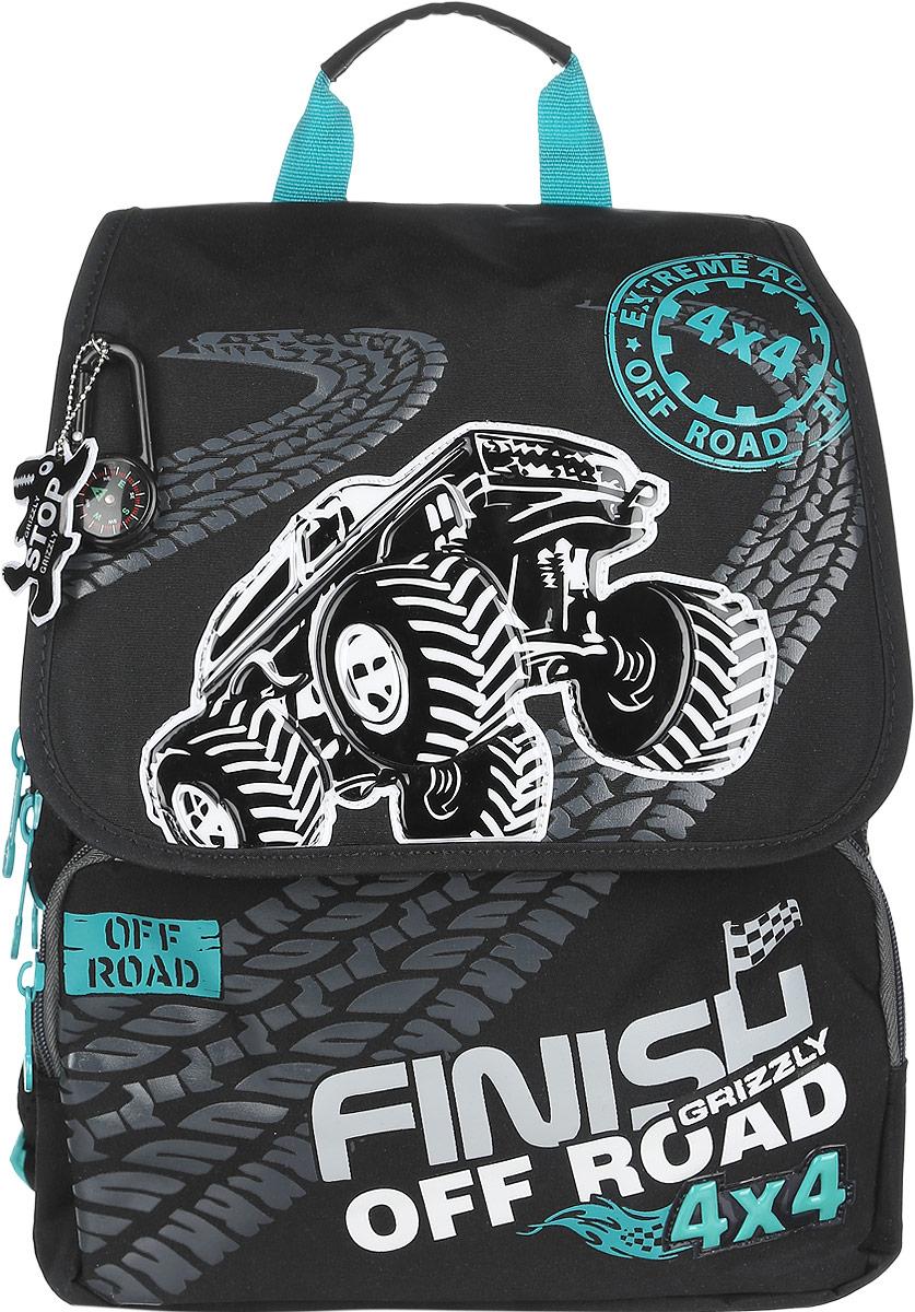 Grizzly Рюкзак детский Finish off Road72523WDДетский рюкзак Grizzly Finish off Road - это стильный и удобный рюкзак, который подойдет всем, кто хочет разнообразить свои школьные будни. Рюкзак выполнен из плотного материала, оформлен оригинальным изображением, декорирован брелоком-компасом и брелоком-светоотражателем.Рюкзак содержит два вместительных отделения, закрывающихся на застежки-молнии с двумя бегунками и клапан на липучках. На внутренней стороне клапана находится пластиковый кармашек, куда можно вложить расписание занятий. Внутри первого отделения находятся открытый карман с сеткой и пришивной карман на молнии. Во втором отделении имеется органайзер для хранения канцелярских принадлежностей и мобильного телефона. Дно рюкзака можно сделать жестким, разложив специальную панель с картонной вставкой, что повышает сохранность содержимого рюкзака и способствует правильному распределению нагрузки. На лицевой стороне рюкзака расположены два накладных кармана на молниях. Бегунки на изделии дополнены удобными металлическими держателями с логотипом Grizzly.Мягкие широкие лямки позволяют легко и быстро отрегулировать рюкзак в соответствии с ростом. Рюкзак оснащен удобной ручкой для переноски. Светоотражающие элементы обеспечивают безопасность в темное время суток.Многофункциональный школьный рюкзак станет незаменимым спутником вашего ребенка в походах за знаниями.