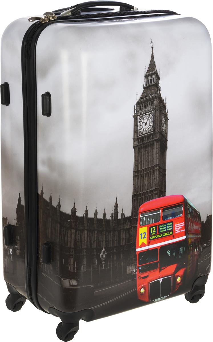 Чемодан пластиковый Everluck Лондон, 105 лГризлиЧемодан Everluck Лондон, выполненный из прочного пластика, прекрасно подойдет для путешествий. Изделие имеет жесткую форму. Материал внутренней отделки - прочный полиэстер. Чемодан очень вместителен, он содержит продуманную внутреннюю организацию, которая позволяет удобно разложить вещи и избежать их сминания. Имеется одно большое отделение, закрывающееся по периметру на застежку-молнию с двумя бегунками. Большое отделение для хранения одежды оснащено перекрещивающимися багажными ремнями, которые соединяются при помощи пластикового карабина. Также внутри имеется 2 кармана на молнии и одно дополнительное небольшое отделение на молнии. Для удобной перевозки чемодан оснащен четырьмя маневренными колесами, которые обеспечивают легкость перемещения в любом направлении. Телескопическая ручка выдвигается нажатием на кнопку и фиксируется в двух положениях. Сверху и сбоку предусмотрена ручка для поднятия чемодана.Чемодан оснащен кодовым замком, который исключает возможность взлома.Чемодан Everluck Лондон идеально подходит для поездок и путешествий. Он вместит все необходимые вещи и станет незаменимым аксессуаром во время поездок. Размер чемодана: 49 x 31 х 69 см. Высота чемодана (с учетом колес и максимально выдвинутой ручки): 103 см. Максимальная высота выдвижной ручки: 32 см. Минимальная высота выдвижной ручки: 21 см. Диаметр колеса: 4,5 см.Объем чемодана: 105 л.