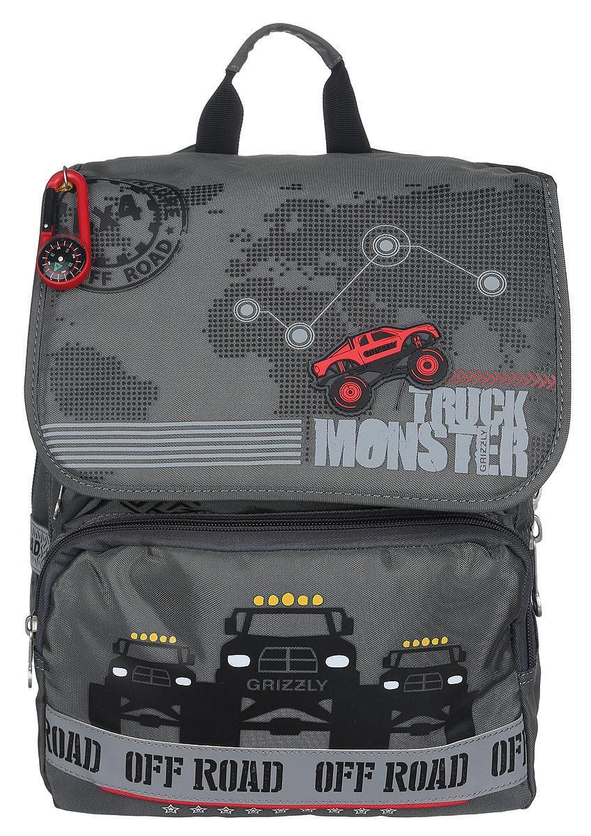 Grizzly Рюкзак детский Trusk MonsterRA-671-4/1Детский рюкзак Grizzly Trusk Monster подойдет всем, кто хочет разнообразить свои школьные будни. Рюкзак выполнен из прочного материала и оформлен оригинальным изображением и брелоком-компасом.Рюкзак содержит два вместительных отделения, закрывающихся на застежки-молнии и клапаном на липучках. На внутренней части клапана находится прозрачный пластиковый кармашек, в который можно поместить расписание занятий. Внутри первого отделения находятся карман с сеткой на молнии и три небольших открытых кармашка. Во втором отделении имеется карман-сетка на резинке и пришивной карман на молнии. Дно рюкзака можно сделать жестким, разложив специальную панель с картонной вставкой, что повышает сохранность содержимого рюкзака и способствует правильному распределению нагрузки. На лицевой стороне рюкзака расположены два накладных кармана на молнии. Бегунки на изделии дополнены удобными металлическими держателями с логотипом Grizzly.Плечевые лямки анатомической формы предупреждают перегрузки и снимают напряжение со спины школьника, обеспечивая правильное распределение веса рюкзака. Микропористая структура обеспечивает проникновение воздуха к коже, а дополнительные резинки усиливают конструкцию, не ограничивая эластичных свойств лямок. Рюкзак оснащен удобной ручкой для переноски. Многофункциональный школьный рюкзак станет незаменимым спутником вашего ребенка в походах за знаниями.