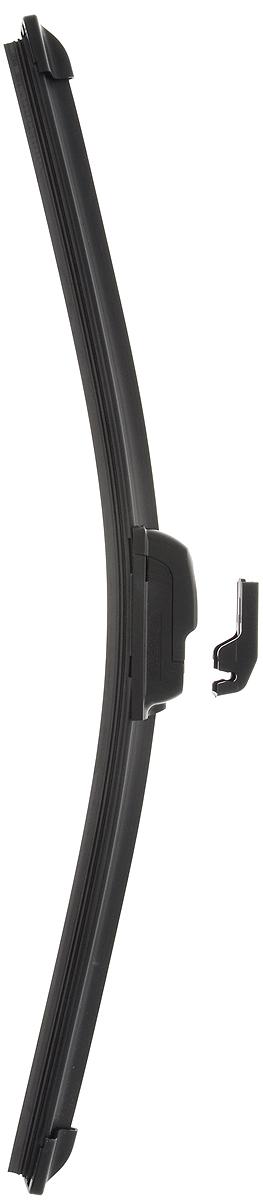 Щетка стеклоочистителя Wonderful, бескаркасная, с тефлоном, с 2 адаптерами, длина 42,5 см, 1 штGC020/00Бескаркасная универсальная щетка Wonderful, выполненная по современной технологии из высококачественных материалов, предназначена для установки на переднее стекло автомобиля. Направляющая шина, расположенная внутри чистящего полотна, равномерно распределяет прижимное усилие по всей длине, точно повторяя рельеф щетки, что обеспечивает наиболее полное очищение стекла за один проход. Отличается высоким качеством исполнения и оптимально подходит для замены оригинальных щеток, установленных на конвейере. Обеспечивает качественную очистку стекла в любую погоду. Изделие оснащено 2 адаптерами, которые превосходно подходят для наиболее распространенных типов креплений. Простой и быстрый монтаж.