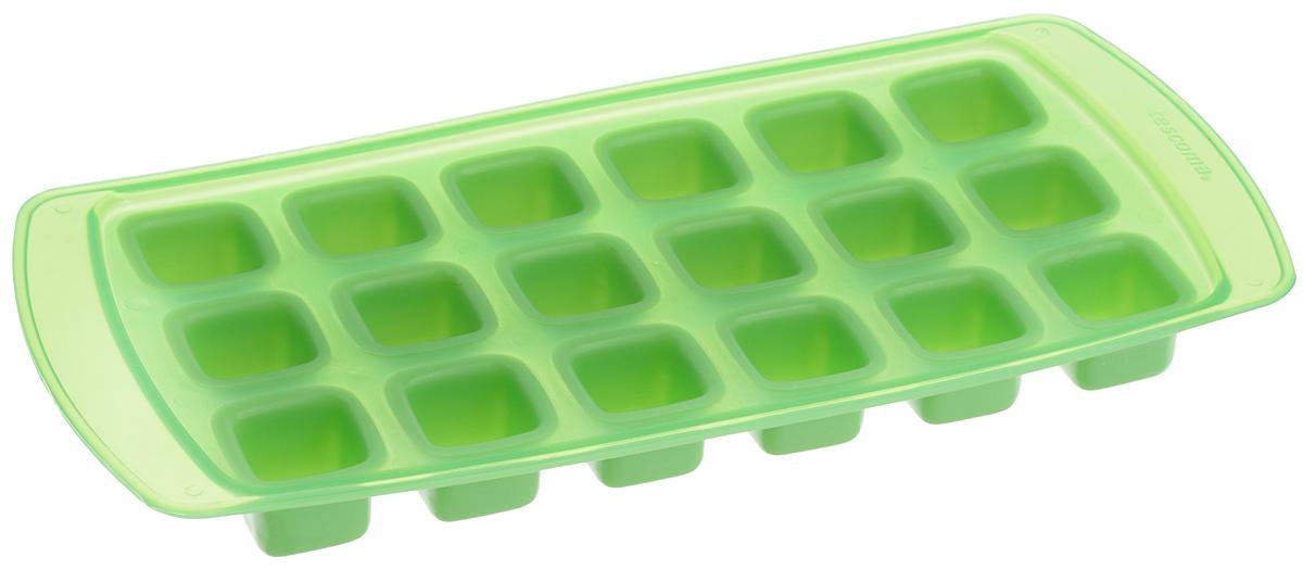 Форма для льда Tescoma Presto, с гибким дном, цвет: зеленый, 18 ячеекVT-1520(SR)Форма Tescoma Presto, изготовленная из высококачественного пластика с гибким дном, содержит 18 ячеек. Прекрасно подходит для приготовления кубиков льда. Изделие можно мыть в посудомоечной машине. Размер ячейки: 2,2 х 2,2 см. Количество ячеек: 18 шт. Размер формы: 25,5 х 12 х 2,5 см.