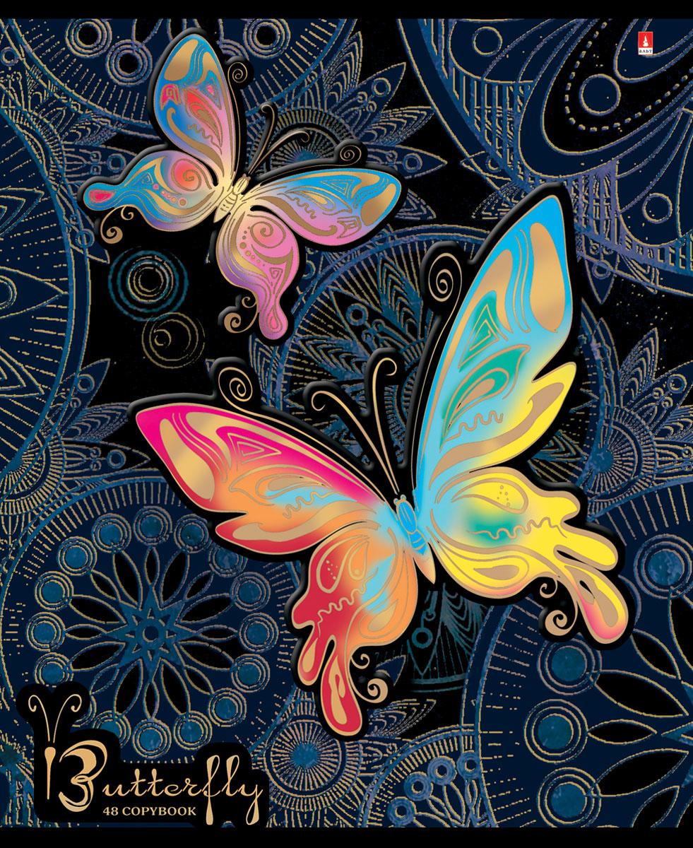 Альт Тетрадь Радужные бабочки 48 листов в клетку вид 3730396Тетрадь Альт Радужные бабочки отлично подойдет для занятий школьнику,студенту или для различных записей.Двойная закругленная обложка тетради выполнена из качественного экологически чистого картона. Лицевая сторона оформлена изображением в виде ярких бабочек.Внутренний блок тетради, соединенный двумя металлическими скрепками, состоит из 48 листов первосортной бумаги белого цвета формата А5. Четкая линовка точно совпадает с обеих сторон каждого листа. Поля отмечены красным цветом.