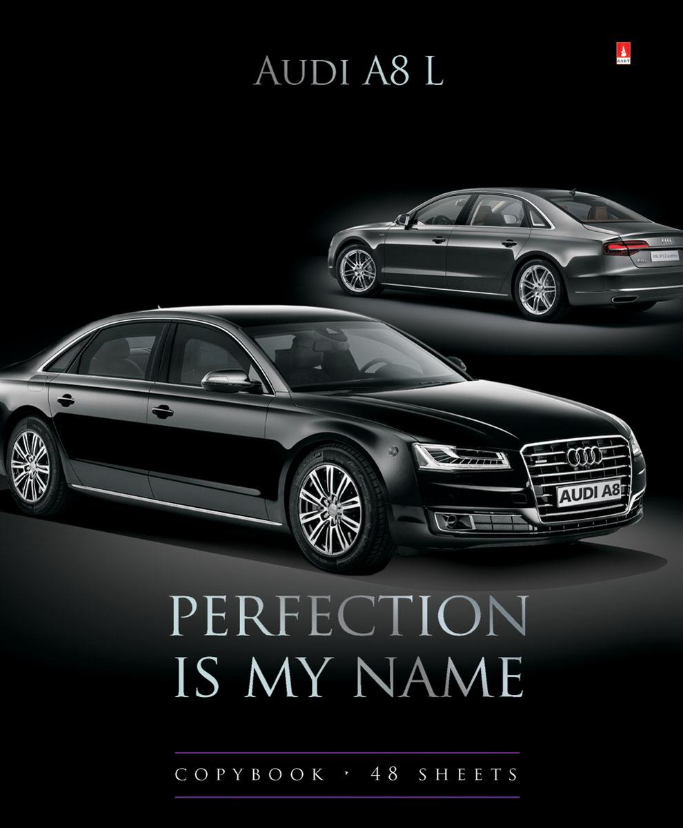Альт Тетрадь Audi A8 L 48 листов в клетку46Т5вмВd2_15885Тетрадь Альт Audi A8 L из серии Машины седаны отлично подойдет для занятий школьнику,студенту или для различных записей.Двойная обложка тетради выполнена из качественного экологически чистого картона с покрытием лака и отделкой серебряной фольги. Лицевая сторона оформлена изображением черной Audi A8 L.Внутренний блок тетради, соединенный двумя металлическими скрепками, состоит из 48 листов первосортной бумаги белого цвета формата А5. Четкая линовка точно совпадает с обеих сторон каждого листа. Поля отмечены красным цветом.