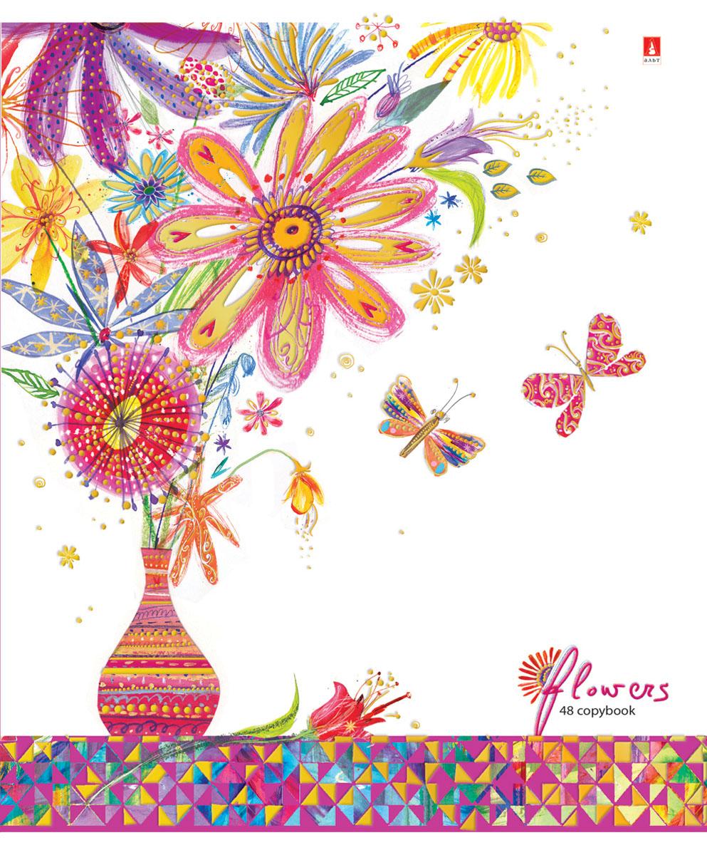 Альт Тетрадь Цветы Счастье 48 листов в клетку Вид 472523WDТетрадь из серии Цветы. Счастье прекрасно подойдет для школьников и студентов. Тетрадь формата А5 в двойной обложке из качественного картона. Благодаря закругленным краям исключаются заломы страниц. Вторая обложка содержит поле для личных данных школьника, а полноцветные форзацы продолжают общее оформление серии. Тетрадь выглядит стильно и эффектно за счет полиграфической отделки. Внутренний блок состоит из 48 листов. Бумага отличается белизной и гладкостью, обладает плотностью 60 грамм, не просвечивает чернила. Все страницы разлинованы в клетку и дополнены красными полями. Модные техники коллажа и аппликации, стилизация под рисунки от руки - все эти приемы создают красочный, сказочный стиль тетрадей Цветы. Счастье.