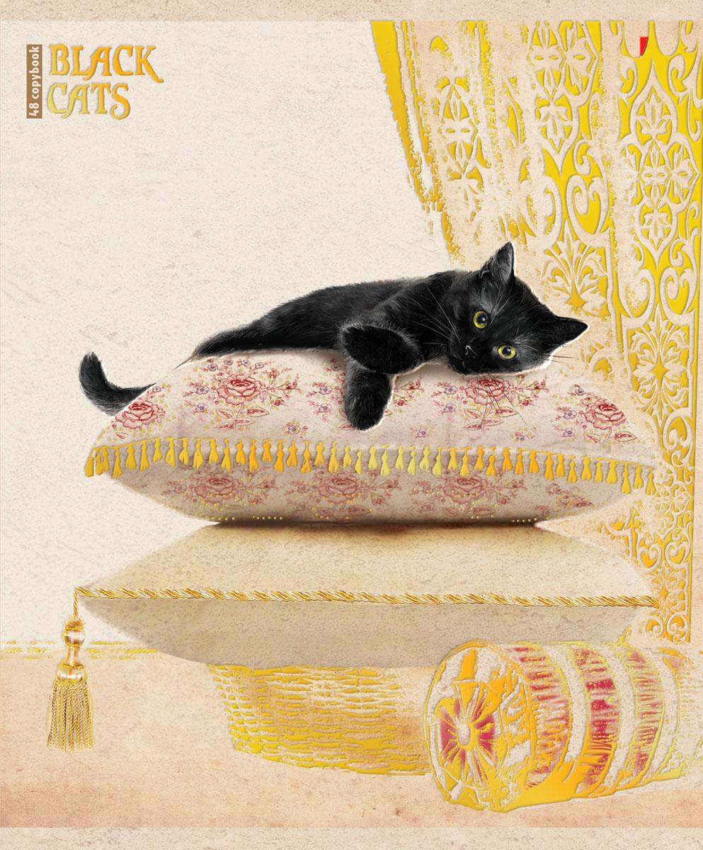 Альт Тетрадь Черные кошки 48 листов в клетку вид 27-48-648Тетрадь Альт Черные кошки подойдет студенту и школьнику.Суеверия, связанные с черными кошками - не более чем выдумки и стереотипы. Новая серия тетрадей поможет убедиться, что это не так. Красочная двойная обложка тетради с закругленными углами выполнена из картона с рельефным тиснением и дополнена изображением кошки, лежащей на подушке.Внутренний блок тетради состоит из 48 листов белой бумаги, соединенных двумя металлическими скрепками. Стандартная линовка в клетку голубого цвета дополнена полями.