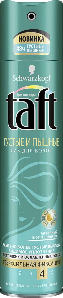 Taft Classic Лак Густые и Пышные cверхсильная фиксация, 225 мл2010393Заметно более густые волосы – сверхсильная фиксация.Taft Густые и Пышные для заметно более густых волос. Создает эффект видимого уплотнения волос и густоты, поддерживая укладку в течение всего дня!- 48 часов фиксации без склеивания, не оставляет следов.- Помогает защитить волосы от пересушивания, не утяжеляя их.