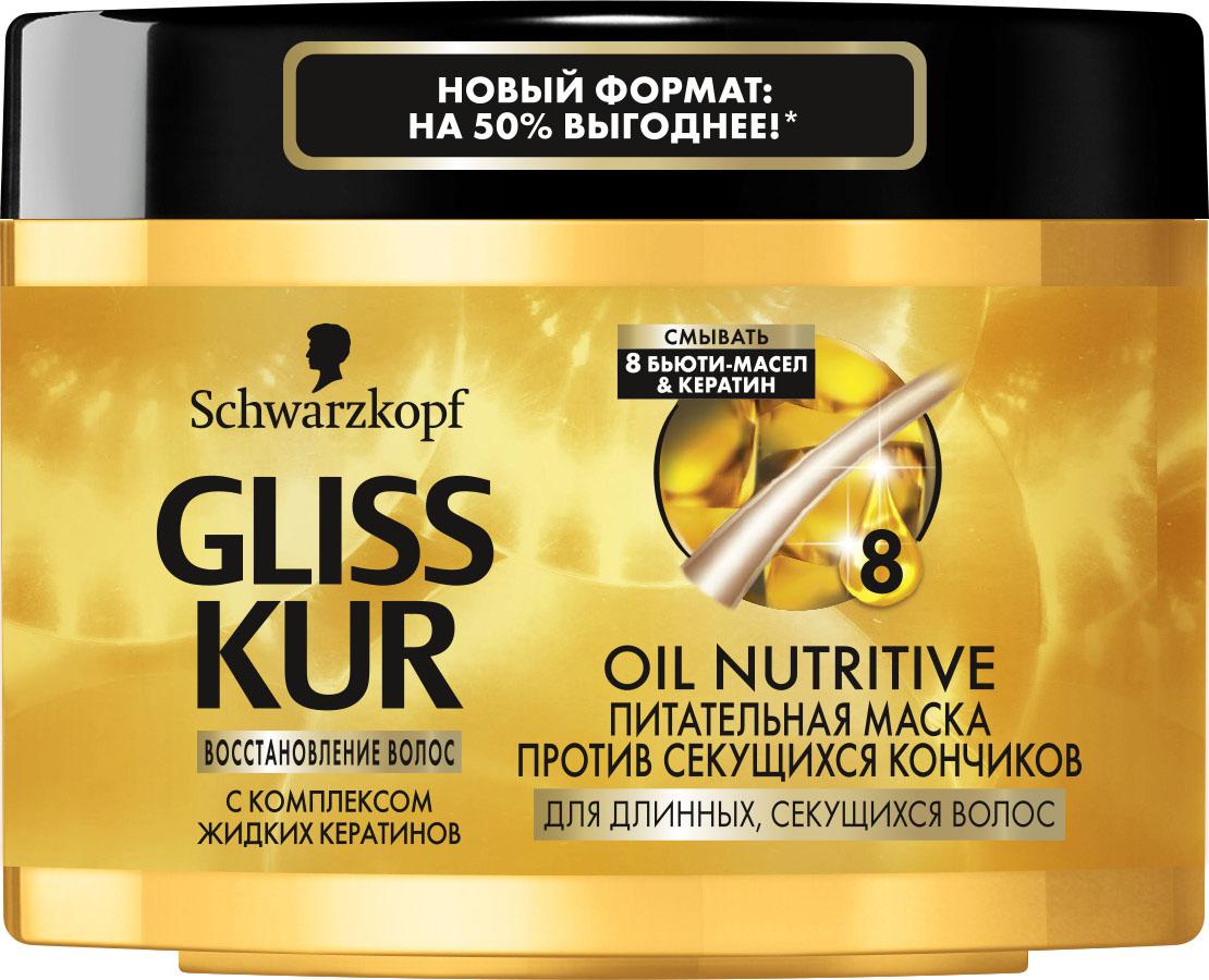 Gliss Kur Маска-уход Oil Nutritive, 300 мл2087222Защита от сечения и блеск для длинных секущихся волос Питательный уход с маслами: мгновенная маска OIL NUTRITIVE уменьшает сечение волос. Длинные, секущиеся волосы вновь приобретают здоровый блеск и эластичность. Особая формула с 8 бьюти-маслами питает волосы и защищает кончики от сечения. Благодаря жидким кератинам формула восстанавливает даже сильно поврежденные участки волос. Эффективность уже после 30 СЕКУНД применения В 10 раз БОЛЬШЕ ЗАЩИТЫ против секущихся кончиков по сравнению с необработанными волосами