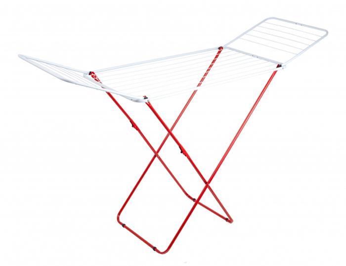 Сушилка для белья Attribute Прима, напольная, цвет: красный. ADP118GC204/30Складная сушилка Attribute Прима из высококачественной стали позволит вам экономить пространство в комнате. Антискользящие вставки на ножках сушилки обеспечат надежную устойчивость. Имеет накладки против скольжения и повреждения пола.Максимальная нагрузка: 17 кг. Габариты (высота, длина, ширина): 96 х 105 x 55 см. Рабочая длина: 1,8 м. Количество подвесов: 8 шт, длиной по 1 м, 12 шт длиной по 0,5 м.