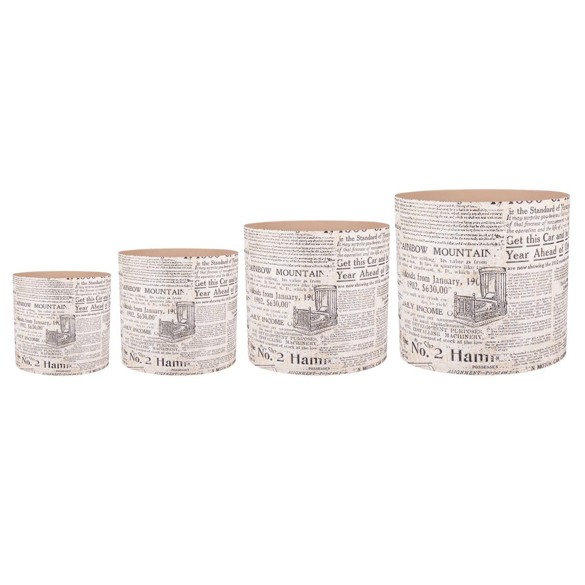 Набор горшков для цветов Miolla Газетный стиль, со скрытым поддоном, 4 предметаSS 4041Набор Miolla Газетный стиль состоит из 4 горшков со скрытыми поддонами. Горшкивыполнены из пластика и декорированы красочным рисунком. Изделия предназначены для цветов.Такие изделия часто становятся последним штрихом, который совершенно изменяет интерьер помещения или ландшафтный дизайн сада. Благодаря такому набору вы сможете украсить вашу комнату, офис, сад и другие места. Изделия оснащены специальными скрытыми поддонами.Диаметр горшков: 20,5 см, 16,5 см, 13,5 см, 11,5 см.Высота горшков (с учетом поддона): 19 см, 16 см, 13,5 см, 11,5 см.Объем горшков: 1 л, 1,7 л, 2,8 л, 5,1 л.