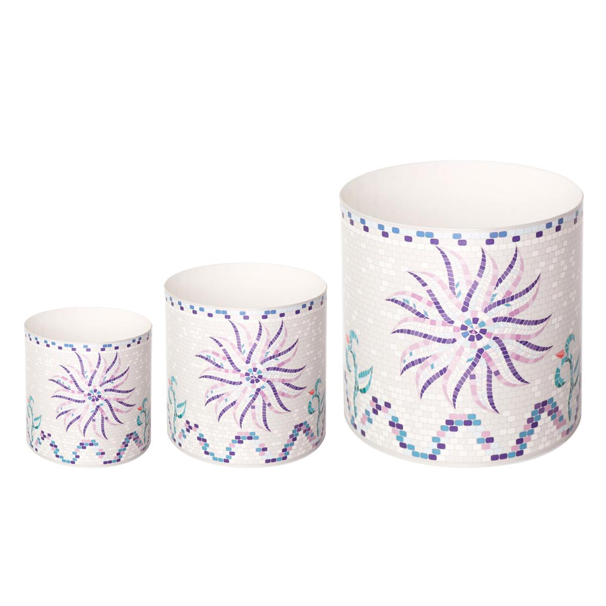 Набор горшков для цветов Miolla Мозаика белая, со скрытым поддоном, 3 предмета miolla 3