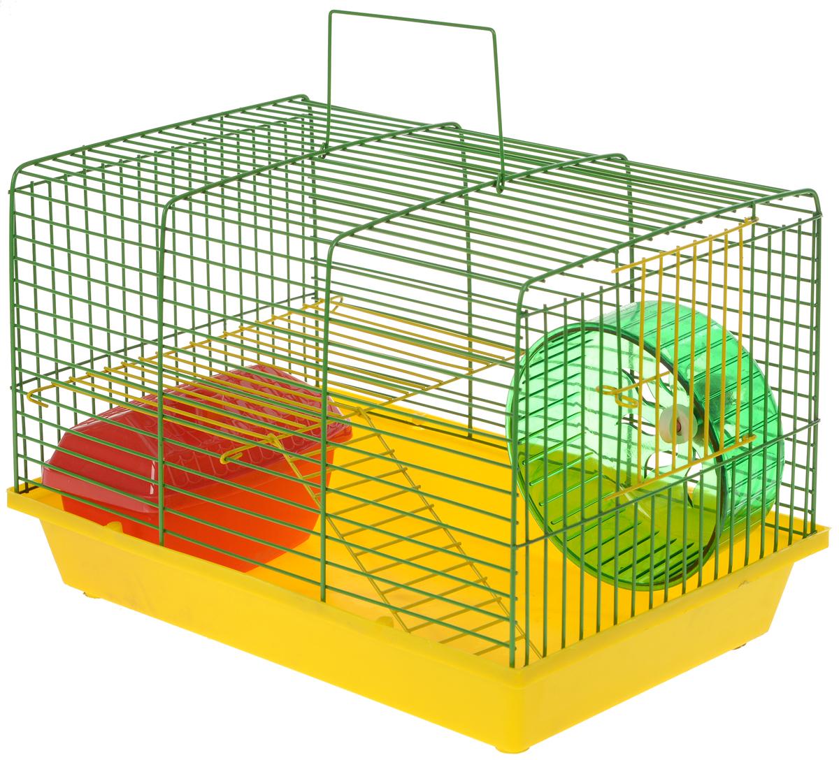 Клетка для грызунов ЗооМарк, 2-этажная, цвет: желтый поддон, зеленая решетка, желтый этаж, 36 х 22 х 24 смКВП1нгКлетка ЗооМарк, выполненная из полипропилена и металла, подходит для мелких грызунов. Изделие двухэтажное, оборудовано колесом для подвижных игр и пластиковым домиком. Клетка имеет яркий поддон, удобна в использовании и легко чистится. Сверху имеется ручка для переноски. Такая клетка станет личным пространством и уютным домиком для маленького грызуна.Комплектация: - клетка с поддоном;- домик;- колесо.