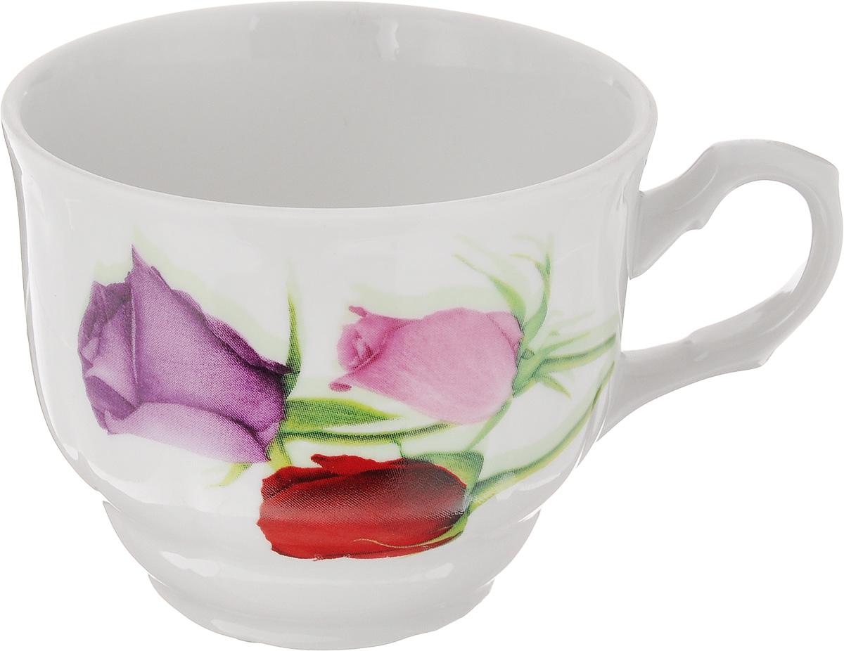 Чашка чайная Тюльпан. Королева цветов, 250 млW02002048Чайная чашка Тюльпан. Королева цветов выполнена из высококачественного фарфора. Изделие украшено изображениями цветков роз. Нежнейший дизайн и белоснежность изделия дарят ощущение легкости и безмятежности. Диаметр чашки (по верхнему краю): 8,5 см. Высота чашки: 7 см. Объем: 250 мл.