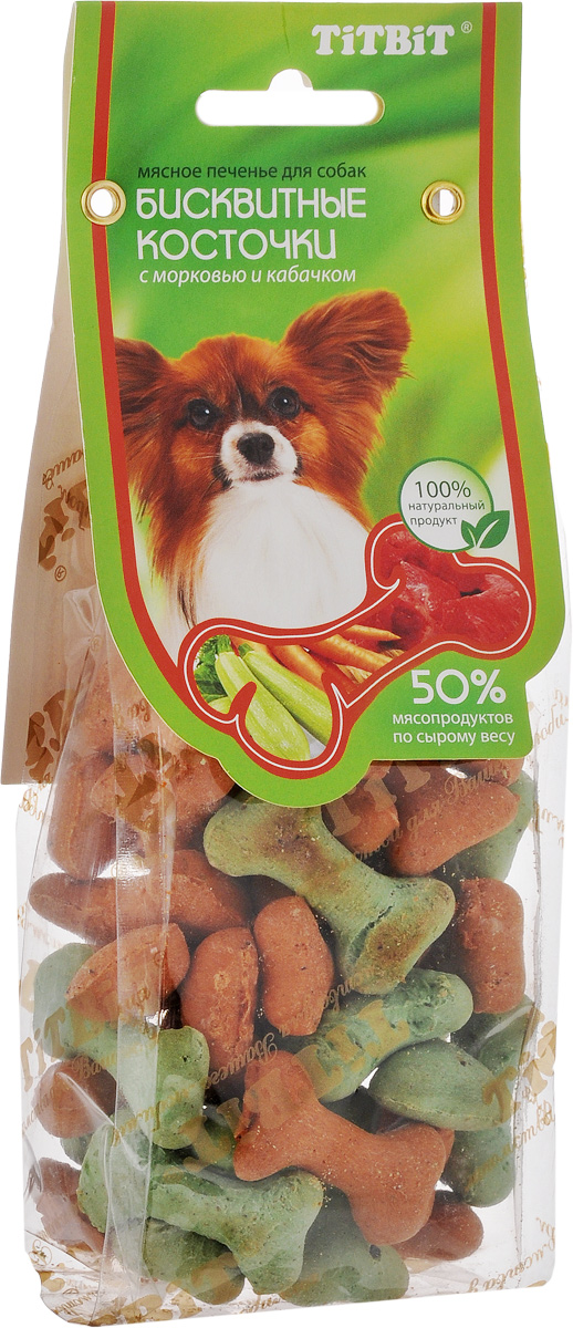 Косточки бисквитные Titbit, с морковью и кабачком, 100 г4627092861478Бисквитные косточки с овощами Titbit - это мясное печенье для собак любых пород. Они идеально подходят для поощрения и угощения вашего питомца. Структура печенья способствует укреплению десен и снижает риск образования зубного камня у животного.Товар сертифицирован.