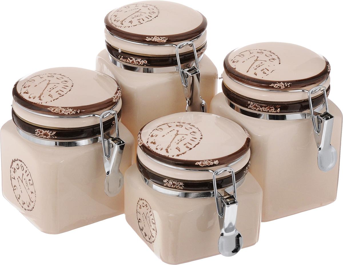 Набор банок для сыпучих продуктов Unistock Trade Часы, 4 штM20300C_белыйНабор Unistock Trade Часы состоит из четырех банок разного объема, предназначенных для хранения сыпучих продуктов. Банки выполнены из высококачественной керамики и декорированы оригинальным рисунком. Банки прекрасно подходят для круп, орехов, сухофруктов, чая, кофе, сахара и других сыпучих продуктов. Герметичное закрытие позволяет сохранить продукты свежими. Оригинальный необычный дизайн стильно дополнит интерьер кухни. Такой набор станет желанным подарком для любой хозяйки. Объем банок: 400 мл, 600 мл, 700 мл, 900 мл. Размер банок: 9,5 х 9,5 х 10,5 см, 9,5 х 9,5 х 12,5 см, 9,5 х 9,5 х 14 см, 9,5 х 9,5 х 15,5 см.