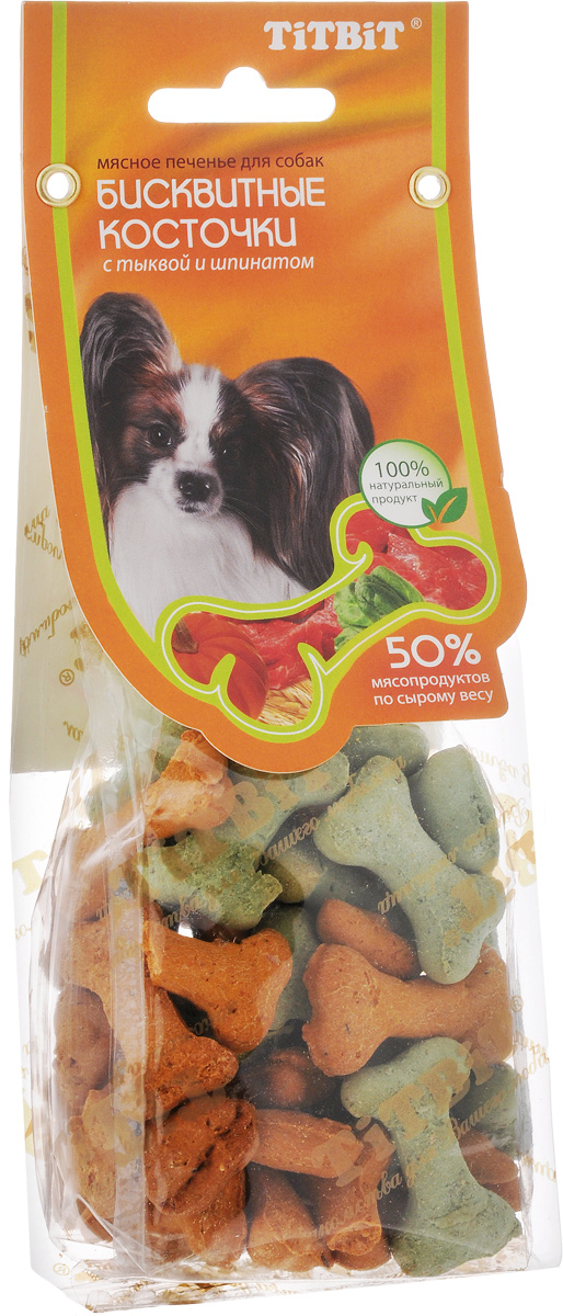 Лакомство для собак Titbit, бисквитные косточки с тыквой и шпинатом, 100 г0120710Лакомство Titbit - это мясное печенье с овощами для собак любых пород. Идеально подходит для поощрения и угощения. Структура печенья способствует укреплению десен и снижает риск образования зубного камня.Товар сертифицирован.