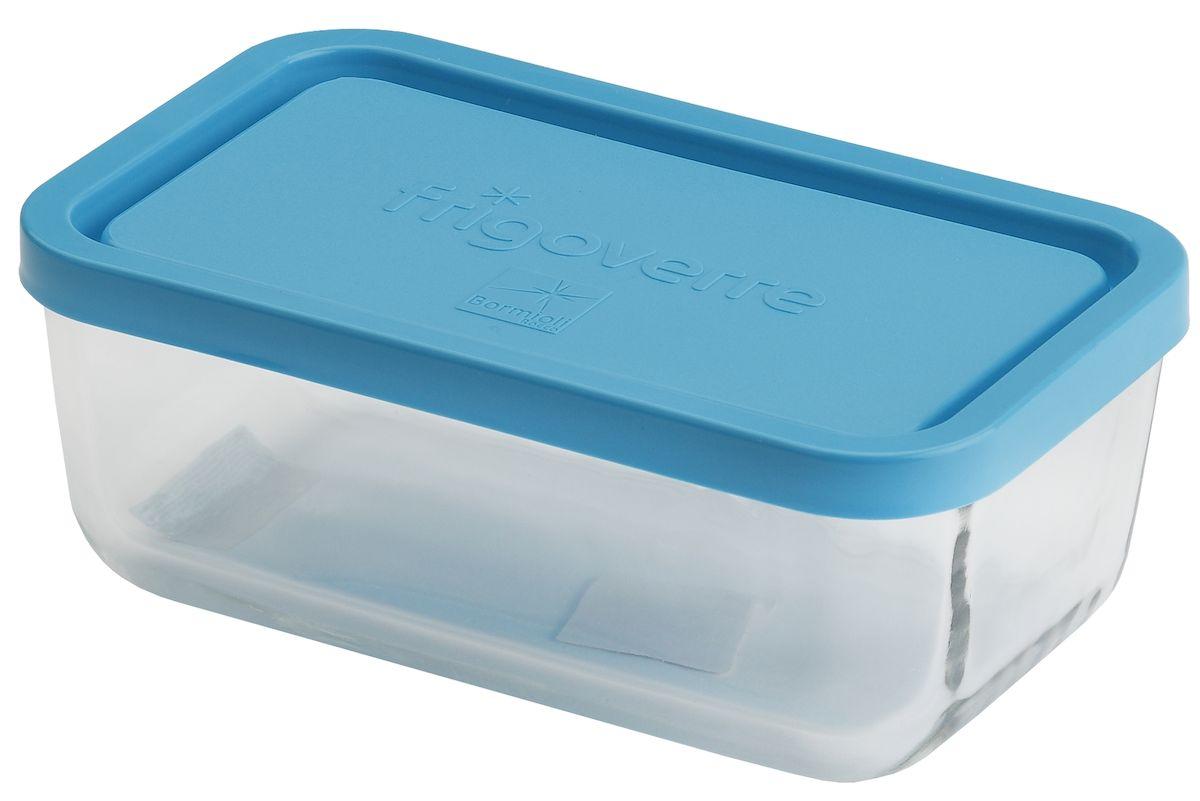 Контейнер Bormioli Rocco Frigoverre, прямоугольный, цвет: синий, прозрачный, 400 млB335170-1Стеклянный герметичный контейнер Bormioli Rocco Frigoverre для хранения пищи. Из холодильника сразу в микроволновую печь! Выдерживает температурный удар от - 20С до +70С. Безопасен для хранения готовых продуктов. Не содержит Бисфенол А. Закаленное стекло. В 5 раз повышена ударостойкость. Устойчив к царапинам и сколам. Удобство использования. Изделие легко моется. Можно использовать в посудомоечной машине. Настоящее итальянское качество!