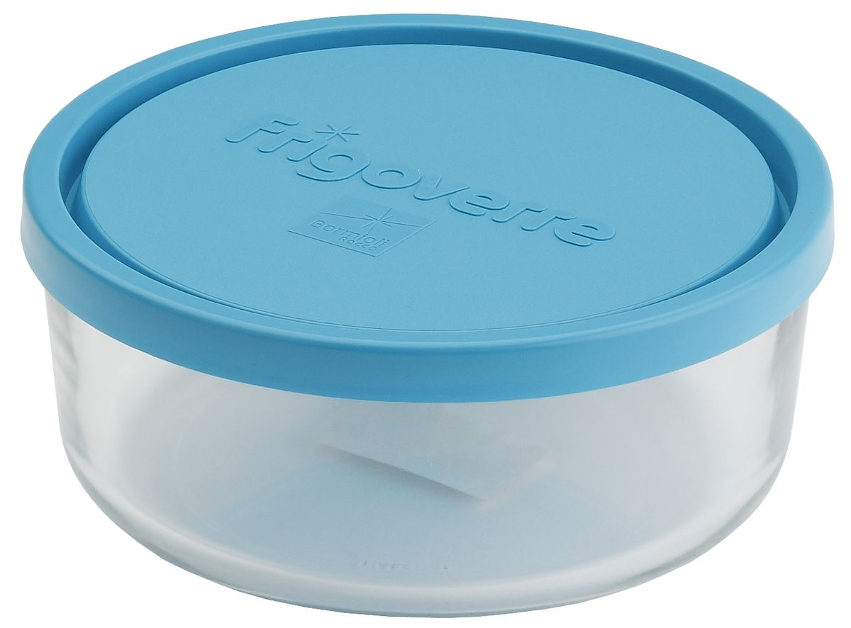 Контейнер Bormioli Rocco Frigoverre, круглый, цвет крышки: синий, 2600 мл21395599Bormioli Rocco Стеклянный герметичный контейнер для хранения пищи Frigoverre с синей крышкой круглый d-23 см, 2600 мл. Из холодильника сразу в микроволновую печь! Выдерживают температурный удар от – 20С до +70С. Безопасны для хранения готовых продуктов. Не содержат Бисфенол А. BPA Free. Закаленное стекло. В 5 раз повышена ударостойкость. Устойчивы к царапинам и сколам. Удобство использования. Изделия легко моются. Можно использовать в посудомоечной машине. Настоящее итальянское качество!