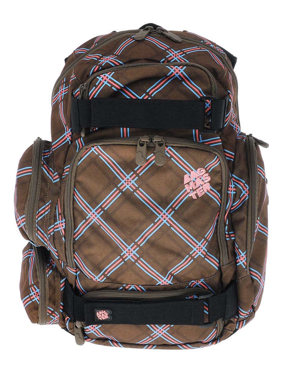 BagMaster Рюкзак детский цвет коричневый72523WDДетский рюкзак BagMaster сочетает в себе современный дизайн, функциональность и долговечность. Выполнен из прочных и высококачественных материалов.Содержит одно вместительное отделение, закрывающееся на застежку-молнию с двумя бегунками. Внутри имеется специальное отделение для ноутбука диагональю 15,4 дюйма. На лицевой стороне расположены три накладных кармана на молнии. Внутри наибольшего кармана имеются: два открытых кармашка, четыре фиксатора для пишущих принадлежностей, карман на молнии и мягкая перегородка. Рюкзак оснащен большим боковым карманом на молнии для бутылки с водой, на котором расположен небольшой вертикальный кармашек на молнии, а с другой стороны - два небольших кармана на застежках-молниях. Мягкие широкие лямки повторяют естественный изгиб плечевого пояса, обеспечивая комфортную посадку рюкзака и свободу движений. Пряжки лямок позволяют одним движением отрегулировать посадку уже надетого изделия по фигуре. Рюкзак оснащен нагрудным фиксирующим ремнем. Текстильная ручка предусмотрена для удобной переноски в руке.Этот рюкзак разработан специально для людей стильных и модных, любящих быть в центре внимания.