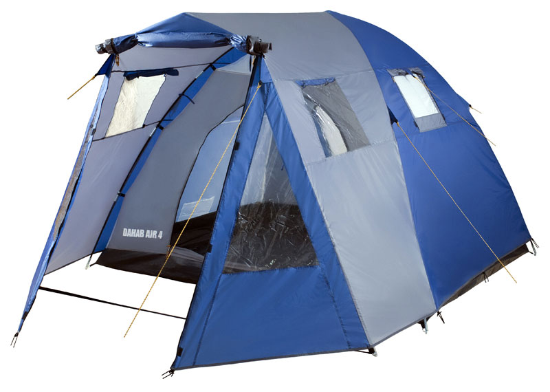 Палатка четырехместная TREK PLANET Dahab Air 4,цвет: синий, серыйKOCAc6009LEDЧетырехместная двухслойная классическая палатка TREK PLANET Dahab Air 4 с вместительным светлымтамбуром, обзорными окнами и двумя входами во внутреннюю палатку с противоположных сторон.Особенности палатки:- Тент палатки из полиэстера с пропиткой PU надежно защищает от дождя и ветра.- Все швы проклеены.- Высокий, вместительный и светлый тамбур.- Обзорное окно со шторкой во внутреннем помещении.- Дополнительные вентиляционные окна в тамбуре, защищенные москитными сетками.- Дно из прочного водонепроницаемого армированного полиэтилена позволяет устанавливать палатку нажесткой траве, песчаной поверхности, глине и т.д.- Дуги из прочного стеклопластика.- Внутренняя палатка из дышащего полиэстера, обеспечивает вентиляцию помещения и позволяетконденсату испаряться, не проникая внутрь палатки.- Два входа во внутреннюю палатку с противоположных сторон.- Вентиляционные окна в спальном отделении.- Москитная сетка на каждом входе в палатку в полный размер двери.- Внутренние карманы для мелочей во внутренней палатке.- Возможность подвески фонаря в палатке.Для удобства транспортировки и хранения предусмотрен чехол из прочного полиэстера OXFORD, с двумяручками и закрывающийся на застежку-молнию.Размер палатки в установленном виде: 260 х 400 х 175 см.Размер спального места: 250 х 210 х 175 см.