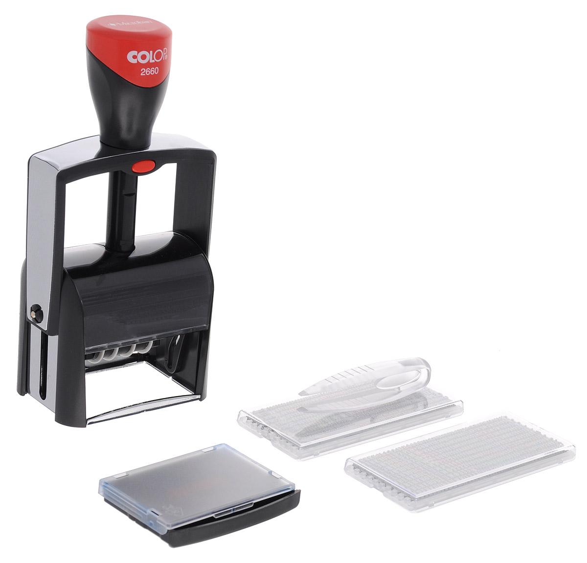 Colop Датер самонаборный S 2660 Set-FFS-00897Датер имеет металлический каркас, обрамленный пластиком.Автоматическое окрашивание текста. Встроенная антибактериальная защита на основе 3G-серебра в ручке и колпачке. Изделие предназначено для работы с повышенной нагрузкой. Мягкость и бесшумность хода, легкий доступ к колесам смены даты.Ленты датерных механизмов закрыты специальным кожухом, который гарантирует абсолютную чистоту в процессе использования. Рифленая пластина для набора текста расположена вокруг даты, дата 4 мм - находится в центре.Датер рассчитан на 12 лет, включая текущий год. В комплекте: датер с рифленой пластиной, пинцет, две кассы букв Type Set A и B, двухцветная сменная подушка, рамка. Месяц указан буквами. Крепление символов на одной ножке, экспресс-набор текста.