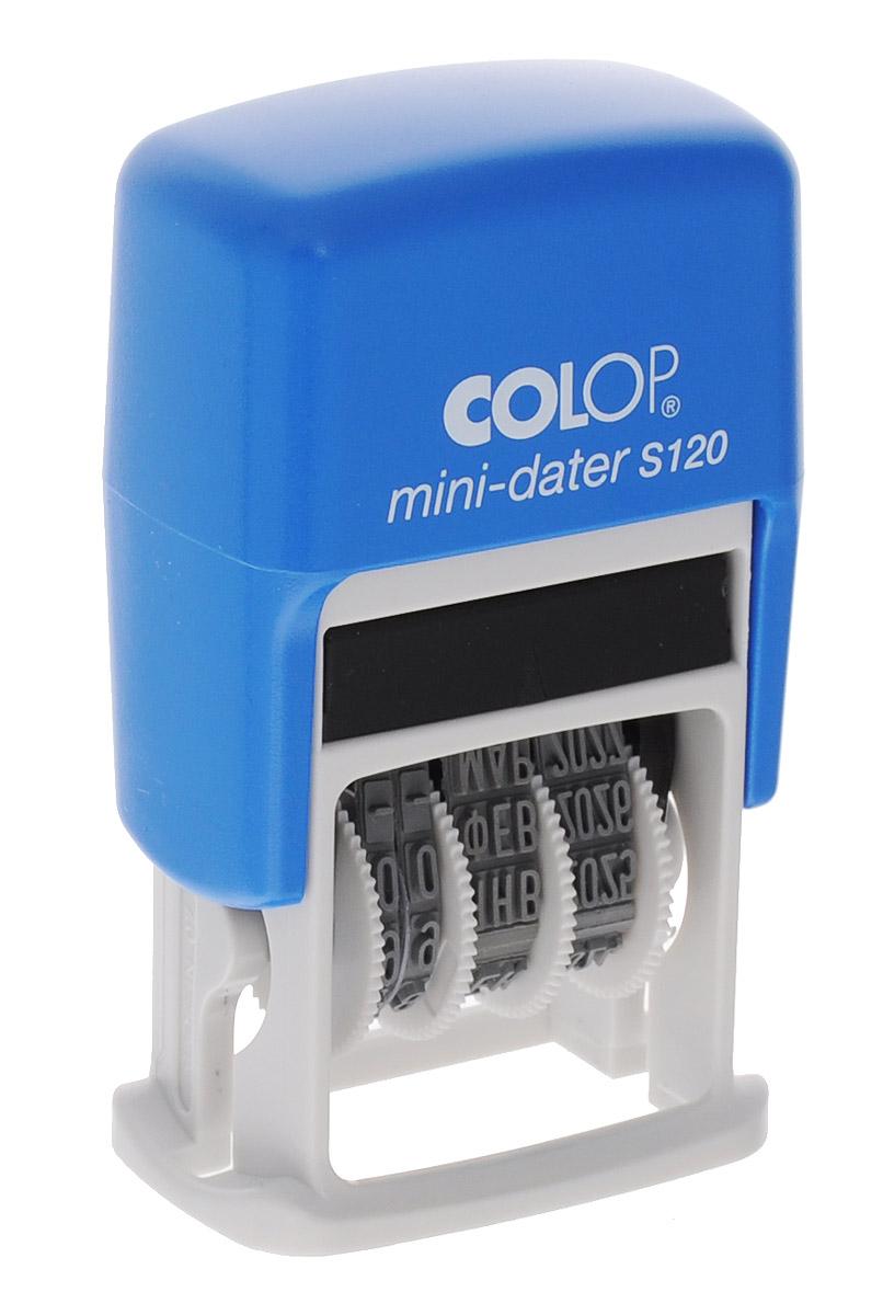 Colop Мини-датер S120 месяц прописьюS120Компактный мини-датер Colop с пластиковым корпусом и автоматическим окрашиванием рассчитан на 12 лет, включая текущий год.Установка даты с помощью колесиков. Высота шрифта - 3,8 мм. Оттиск однострочный. Месяц указывается прописью.