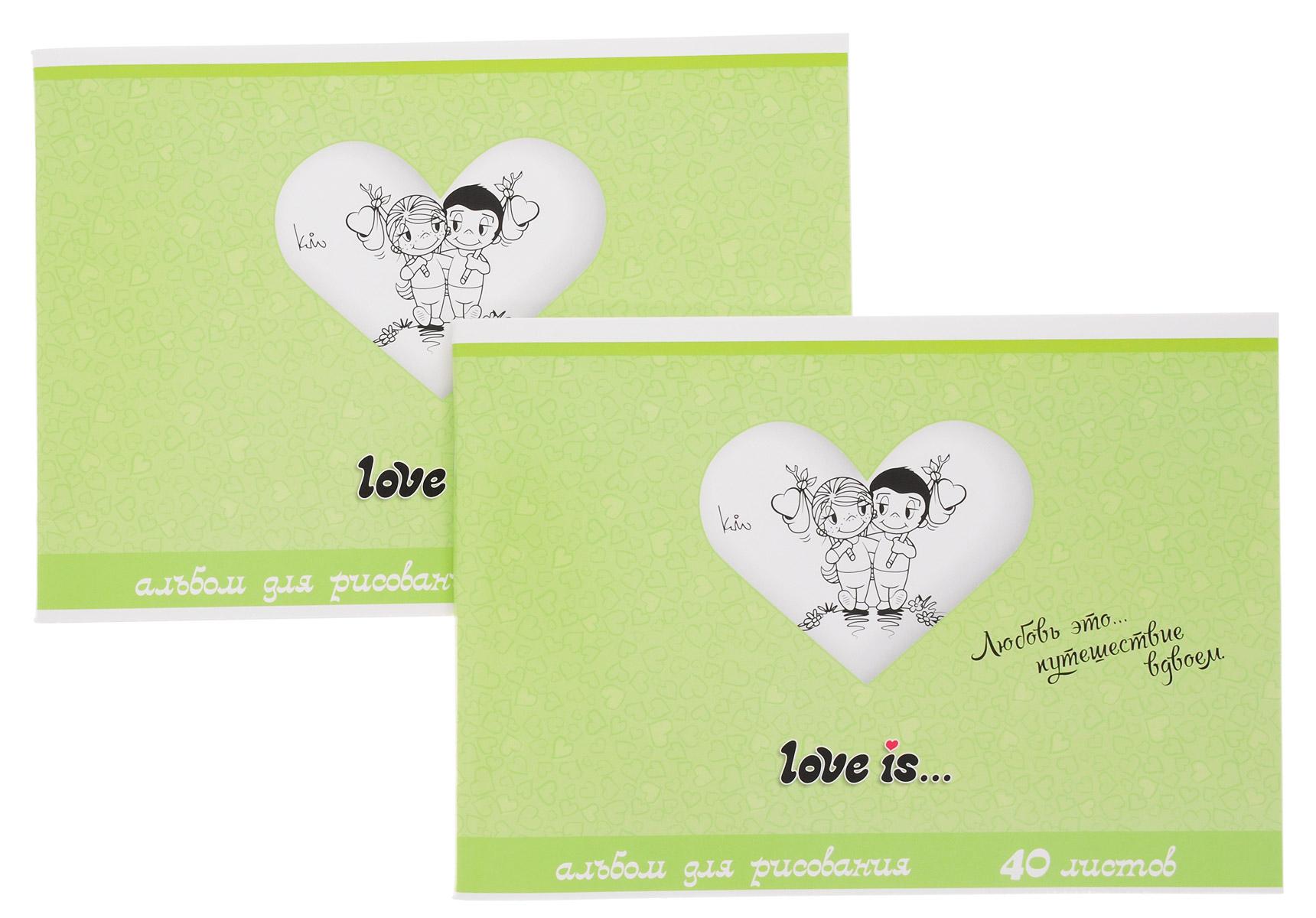 Action! Альбом для рисования Love is... 40 листов цвет салатовый 2 шт2-082/05Альбом для рисования Action! Love is... порадует маленького художника и вдохновит его на творчество.Альбом изготовлен из белой бумаги с яркой обложкой из высококачественного картона, оформленной изображением влюбленной пары. Высокое качество бумаги позволяет рисовать в альбоме карандашами, фломастерами, акварельными и гуашевыми красками.Внутренний блок альбома состоит из 40 листов белой бумаги, соединенных двумя металлическими скрепками. В наборе два альбома.