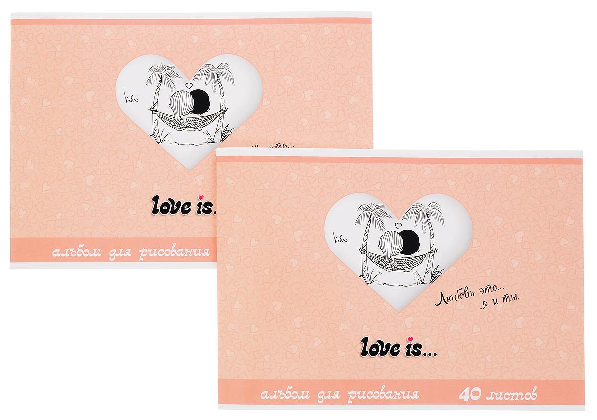 Action! Альбом для рисования Love is... 40 листов цвет персиковый 2 шт72523WDАльбом для рисования Action! Love is... порадует маленького художника и вдохновит его на творчество. Альбом изготовлен из белой бумаги с яркой обложкой из высококачественного картона, оформленной изображением влюбленной пары. Высокое качество бумаги позволяет рисовать в альбоме карандашами, фломастерами, акварельными и гуашевыми красками.Внутренний блок альбома состоит из 40 листов белой бумаги, соединенных двумя металлическими скрепками. В наборе два альбома.
